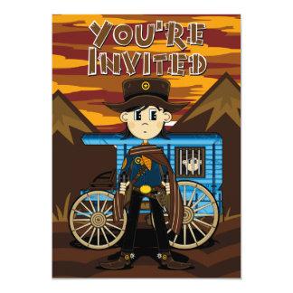 """El sheriff del vaquero y el carro de la cárcel invitación 5"""" x 7"""""""