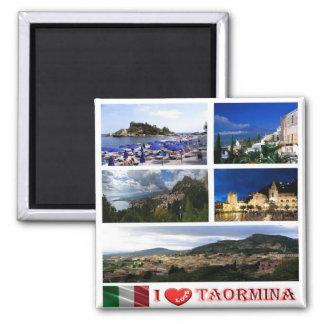 ÉL - Sicilia - Taormina - amor de I - mosaico del Imán Cuadrado