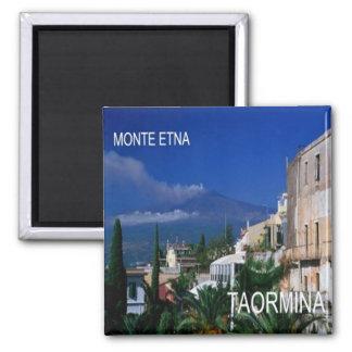 ÉL - Sicilia - Taormina - el Etna Imán Cuadrado