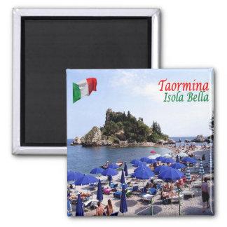 ÉL - Sicilia - Taormina - Isola Bella Imán Cuadrado