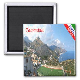 ÉL - Sicilia - Taormina - panorama Imán Cuadrado