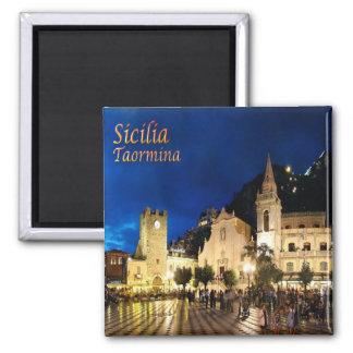 ÉL - Sicilia - Taormina por noche Imán Cuadrado