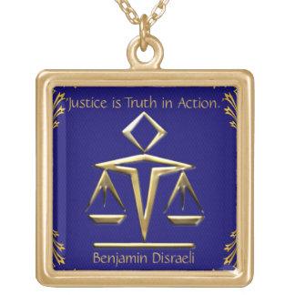 El significado de la justicia - oro+Azul (personal Colgante Cuadrado