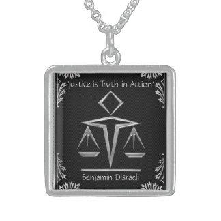 El significado de la justicia - plata+Negro-Person Colgante Cuadrado