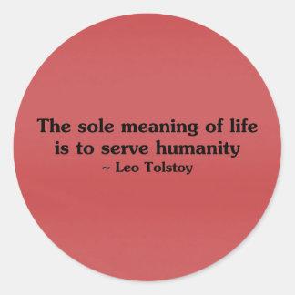 El significado de la vida es servir humanidad pegatina redonda