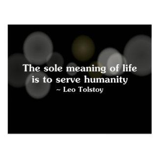 El significado de la vida es servir la humanidad postal