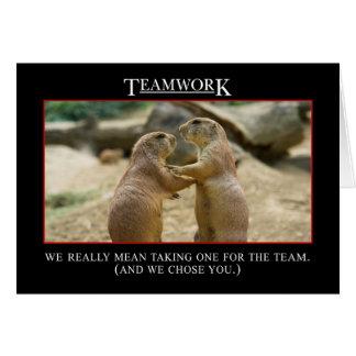 El significado real del trabajo en equipo tarjeta de felicitación