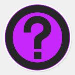 El signo de interrogación pide la puntuación del pegatinas redondas