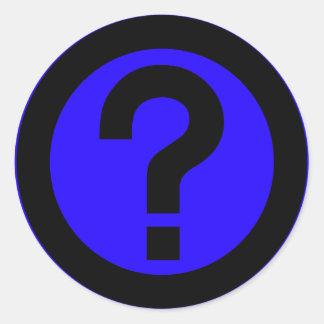 El signo de interrogación pide la puntuación del pegatina redonda