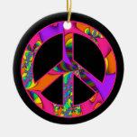 El signo de la paz me colorea ornamento brillante adorno navideño redondo de cerámica
