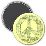 el signo de la paz recicla verde de las palabras imán para frigorifico