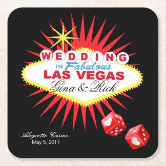 El signo positivo el | de Las Vegas ELIGE COLOR DE Posavasos Desechable Cuadrado