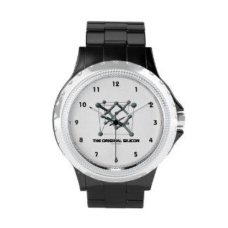 El silicio original (molécula química del silicio) reloj de mano