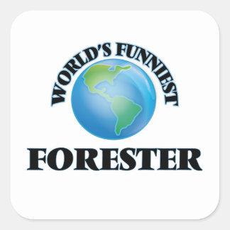 El silvicultor más divertido del mundo pegatina cuadrada