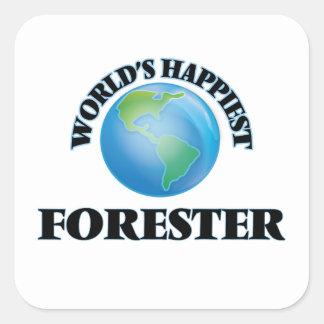 El silvicultor más feliz del mundo pegatina cuadrada