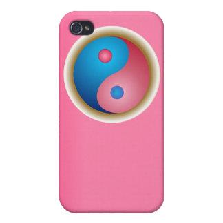 El símbolo caso del iPhone 4 de Yin y de Yang iPhone 4 Protectores
