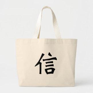 El símbolo chino para cree bolsa tela grande