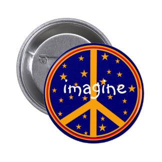 El símbolo de paz retro se imagina los botones mar pins