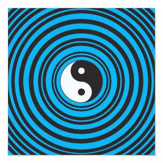 El símbolo de Yin Yang Taijitu con el azul del Invitación 13,3 Cm X 13,3cm