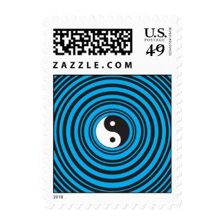 El símbolo de Yin Yang Taijitu con el azul del Sellos