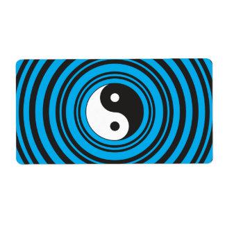 El símbolo de Yin Yang Taijitu con el azul del tru Etiqueta De Envío
