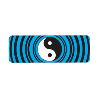 El símbolo de Yin Yang Taijitu con el azul del tru Etiqueta De Remite
