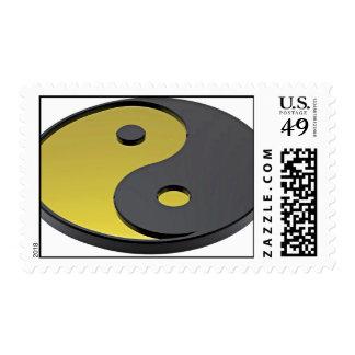 El símbolo del Armonía-Oro Yin-Yang Franqueo