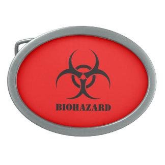El símbolo Halloween rojo del BIOHAZARD viste para Hebillas Cinturón Ovales