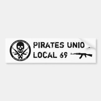 El sindicato local 69 de los piratas pegatina para auto