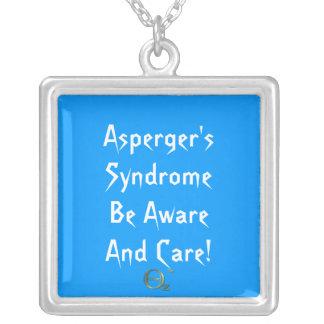 ¡El síndrome de Asperger sea enterado y cuidado! Collar Plateado