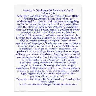 ¡El síndrome de Asperger sea enterado y cuidado! Flyer A Todo Color