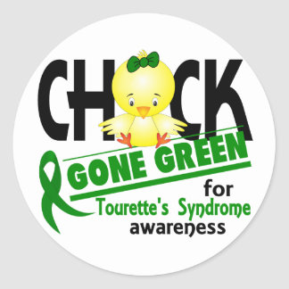 El síndrome de Tourette ido polluelo del verde 2 Pegatina Redonda