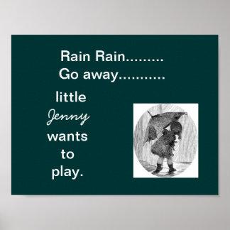 el sitio del niño personalizado a-11 de la lluvia posters