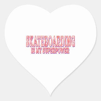 El Skateboarding es mi superpotencia Pegatina En Forma De Corazón