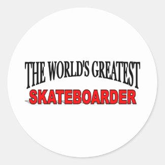 El skater más grande del mundo pegatina redonda