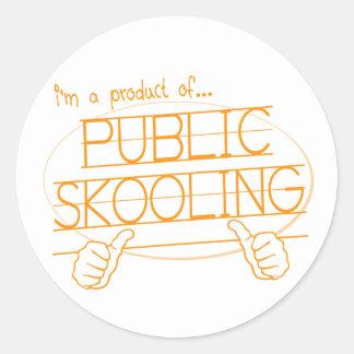 el skooling público pegatina redonda