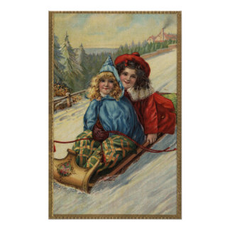 El Sledding de las niñas de ChristmasTwo Poster