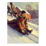 El Sledding del navidad, del padre y de la hija de