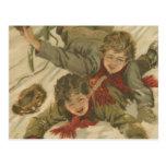 El Sledding del navidad del vintage Postales