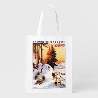 El Sledding y esquí en el poster de los Vosgos Bolsa De La Compra