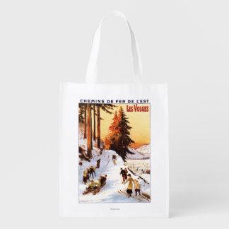 El Sledding y esquí en el poster de los Vosgos Bolsa Para La Compra