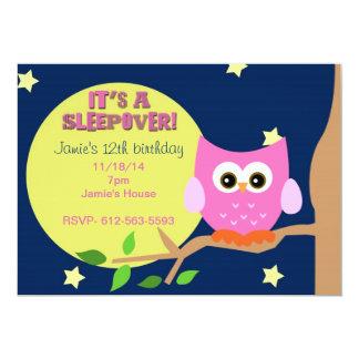 """El Sleepover del búho invita Invitación 5"""" X 7"""""""