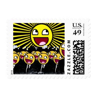 El smiley impresionante hace frente al Emoticon Timbre Postal
