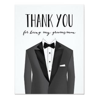 """El smoking le agradece padrino de boda del padrino invitación 4.25"""" x 5.5"""""""