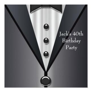 """El smoking negro sirve a la 40.a fiesta de invitación 5.25"""" x 5.25"""""""