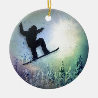 El Snowboarder: Aire Adorno Navideño Redondo De Cerámica