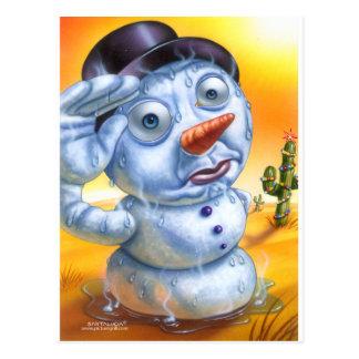 el snowman_melting postales