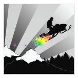 el snowmobiling: rastro del polvo del arco iris invitación 13,3 cm x 13,3cm