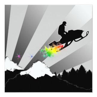 """el snowmobiling: rastro del polvo del arco iris invitación 5.25"""" x 5.25"""""""