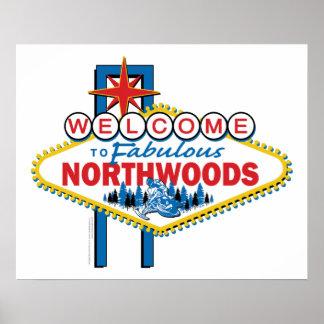 El Snowmobiling recepción al Northwoods Posters